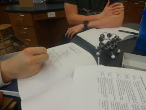 High school students explore network covalents. Students were asked to plan, build, test and revise a model of a network covalent that would be able to hold the most force. We then tested them with a bridge breaker.
