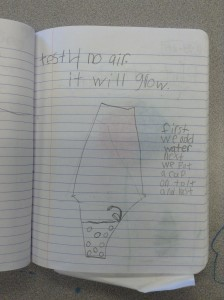 First grade students plan an investigation to see if a seed would grow without air.