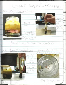 A middle school student notebook sample of a copper crystal growth lab. The focus of the lab was making reliable and reproducible data and observations.