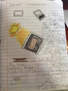 A fifth grader identifies the problem with her first solar cooker model by analyzing its performance.