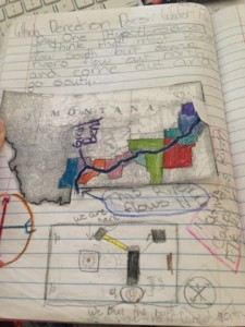 Fifth Grader uses an essential question about water flow to focus a notebook entry's content.